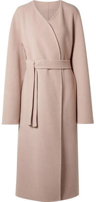 The Row Cofra Belted Cashmere And Wool-blend Coat - Blush
