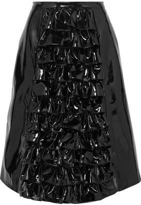 Christopher Kane Ruffled Patent-leather Skirt - Black