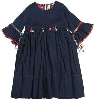 Wool Flannel Long Dress W/ Tassels