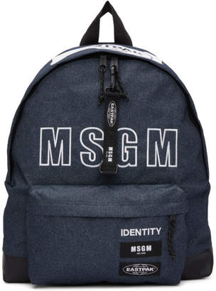 MSGM Blue Eastpak Edition Logo Backpack