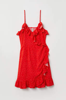 H&M Wrap Dress with Flounces - Red