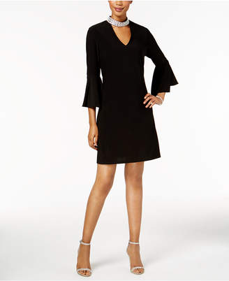 MSK Embellished Mock-Neck Bell-Sleeve Dress