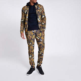 River Island Black muscle fit palm chain jogger