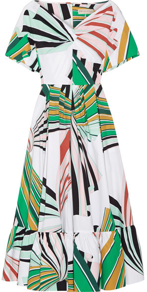 Emilio Pucci - Pleated Printed Stretch-cotton Poplin Midi Dress - Green
