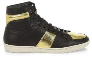 Saint Laurent Hi-Top Leather Sneakers