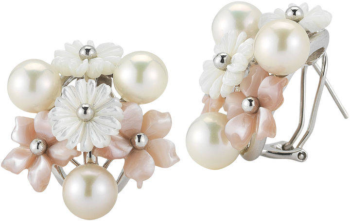 FINE JEWELRY Cultured Freshwater Pearl & Mother-Of-Pearl Floral Earrings