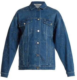 Stella McCartney Oversized Star Embroidered Denim Jacket - Womens - Denim