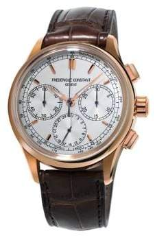 Frederique Constant Flyback Chronograph Manufacture Steel and Leather-Strap Watch