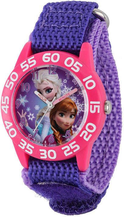 DISNEY Disney Frozen Anna and Elsa Kids Time Teacher Purple Nylon Strap Watch