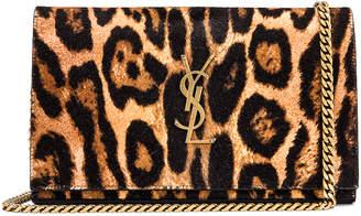 Saint Laurent Leopard Monogramme Chain Wallet Crossbody Bag in Black & Natural | FWRD