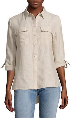 Jones New York Linen Roll-Tab Hi-Lo Shirt