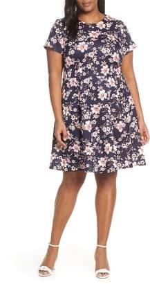 Vince Camuto Floral Scuba Crepe Fit & Flare Dress
