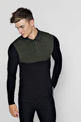 boohoo Long Sleeved Ribbed Cut & Sew Polo