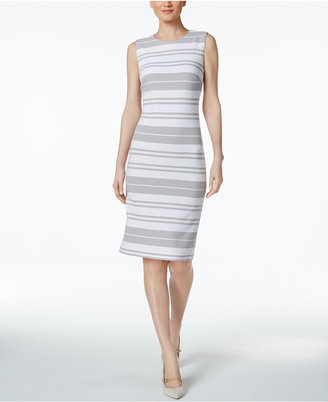 Calvin Klein Striped Ottoman-Knit Sheath Dress $134 thestylecure.com