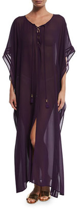 Tommy Bahama Chiffon Lace-Up Caftan Coverup, Regal Purple $118 thestylecure.com