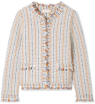 Tory Burch - Hollis Fringed Tweed Cardigan - Ivory