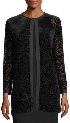 Karl Lagerfeld Paris Velvet Floral-Burnout Topper