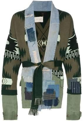 Alanui X Greg Lauren denim and cashmere patch cardigan