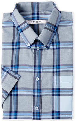 Givenchy Blue Plaid Short Sleeve Dress Shirt