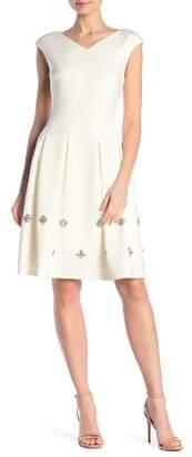 Modern American Designer Embroidered Pleated Cap Sleeve Dress