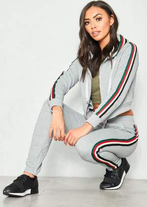 d0ce104de5 Missy Empire Missyempire Caggie Grey Side Strip Cropped Hoody Loungewear Set