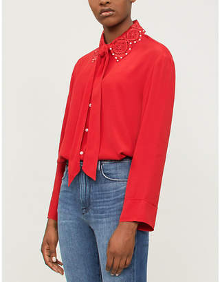 Sandro Embellished embroidered-collar crepe shirt