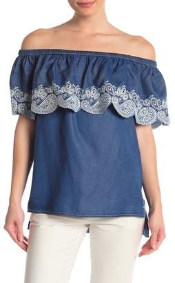 DKNY Off-the-Shoulder Embroidered Eyelet Top