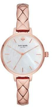 Kate Spade Metro Rose Gold Stainless Steel Half Bangle Bracelet Watch