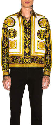 Versace Archive Frames Cropped Silk Shirt