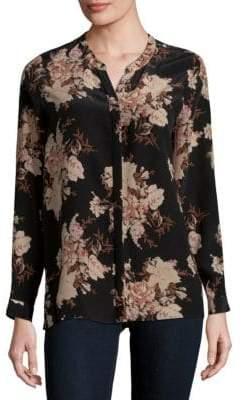 Joie Devitri Floral Long-Sleeve Silk Blouse