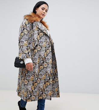 Asos DESIGN Curve tapestry coat with faux fur collar