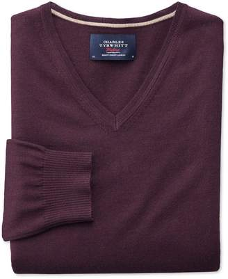 Charles Tyrwhitt Wine Merino Wool V-Neck Sweater Size Medium