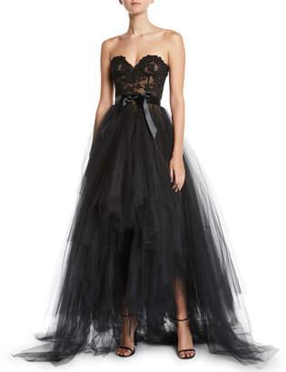 Oscar de la Renta Bustier-Bodice Ribbon-Waist Tiered Tulle Evening Gown