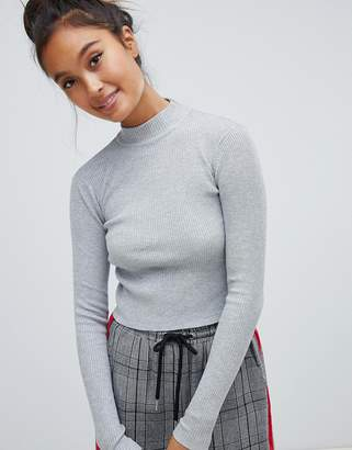 Pull&Bear cropped ribbed jersey sweater in gray