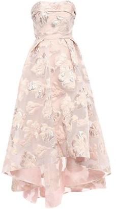 Marchesa Strapless Asymmetric Metallic Fil Coupe Gown