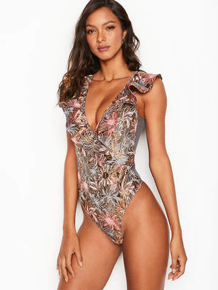 Victoria's Secret Dream Angels Shine Brocade Ruffle Bodysuit