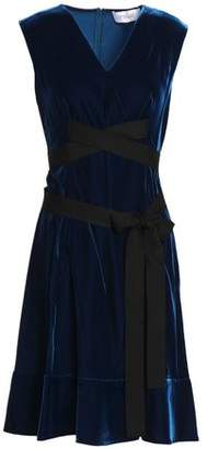 Derek Lam 10 Crosby Tie-Front Grosgrain-Trimmed Velvet Dress