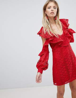 French Connection Lace Frill Mini Dress