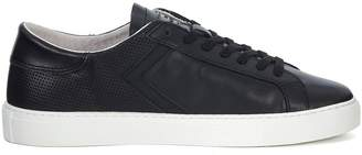 D.A.T.E Newman Half Perforated Black Leather Sneaker