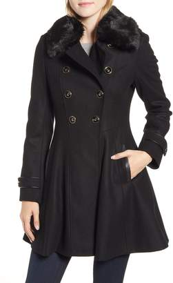 Via Spiga Double Breasted Fit & Flare Coat with Faux Fur Collar