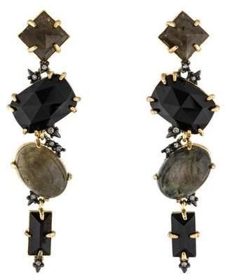 Alexis Bittar Labradorite, Resin & Crystal Drop Earrings