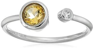 Sterling Silver Bezel Set Genuine Citrine 5mm and Cubic Zirconia 1mm Open Adjustable Ring
