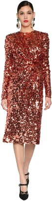 Dolce & Gabbana SEQUINED STRETCH TULLE MIDI DRESS