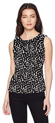 Calvin Klein Women's Petite Printed Pleat Neck Cami