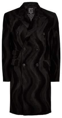 Topman Mens Black Faux Ponyhair Overcoat
