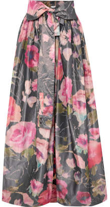 Alexis Mabille Bow-detailed Floral-print Organza Maxi Skirt - Pink