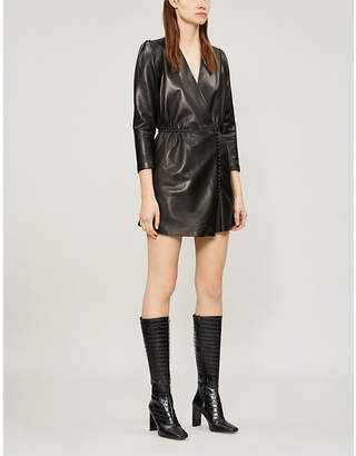 The Kooples V-neck leather dress
