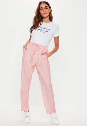 Missguided Pink Pinstripe Tie Waist Pants