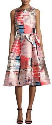Rickie Freeman for Teri Jon Sleeveless Metallic Printed Gazar Cocktail Dress $495 thestylecure.com