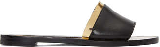 Lanvin Black & Gold Flat Sandals $550 thestylecure.com